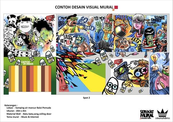 contoh desain visual mural tema musik internet
